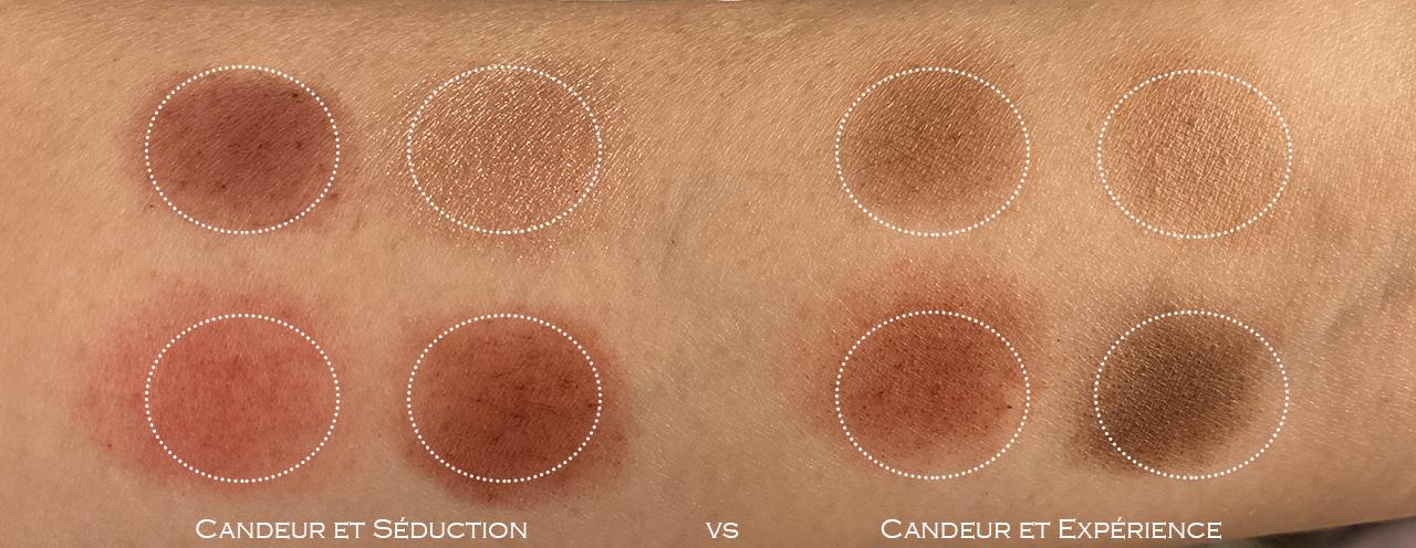 Chanel Les 4 Ombres Candeur et Séduction swatch comparison