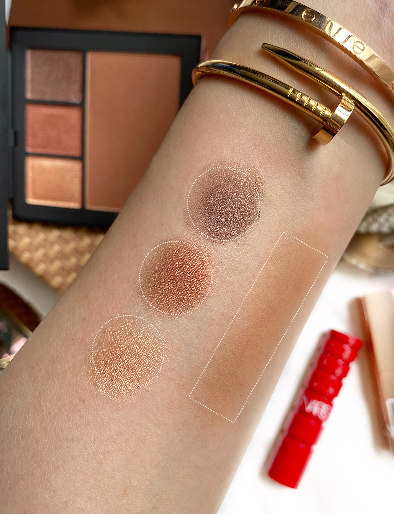 NARS Au Soleil Face Set from Bronze Voyage Collection swatches