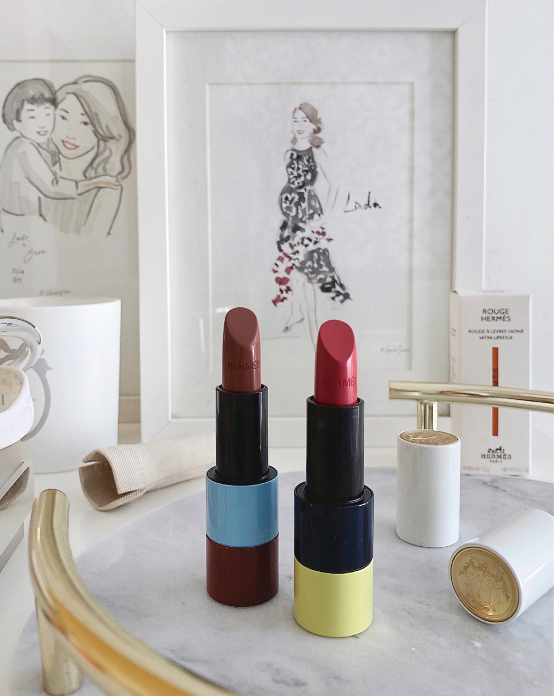 Rouge Hermes Satin Lipstick Rose Ombre & Rose Pommette