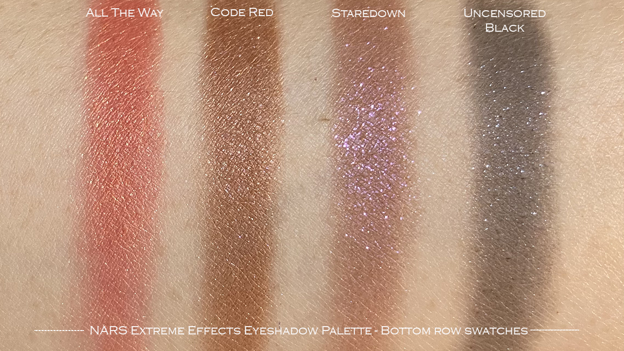 NARS Extreme Effects Eyeshadow Palette bottom row swatches