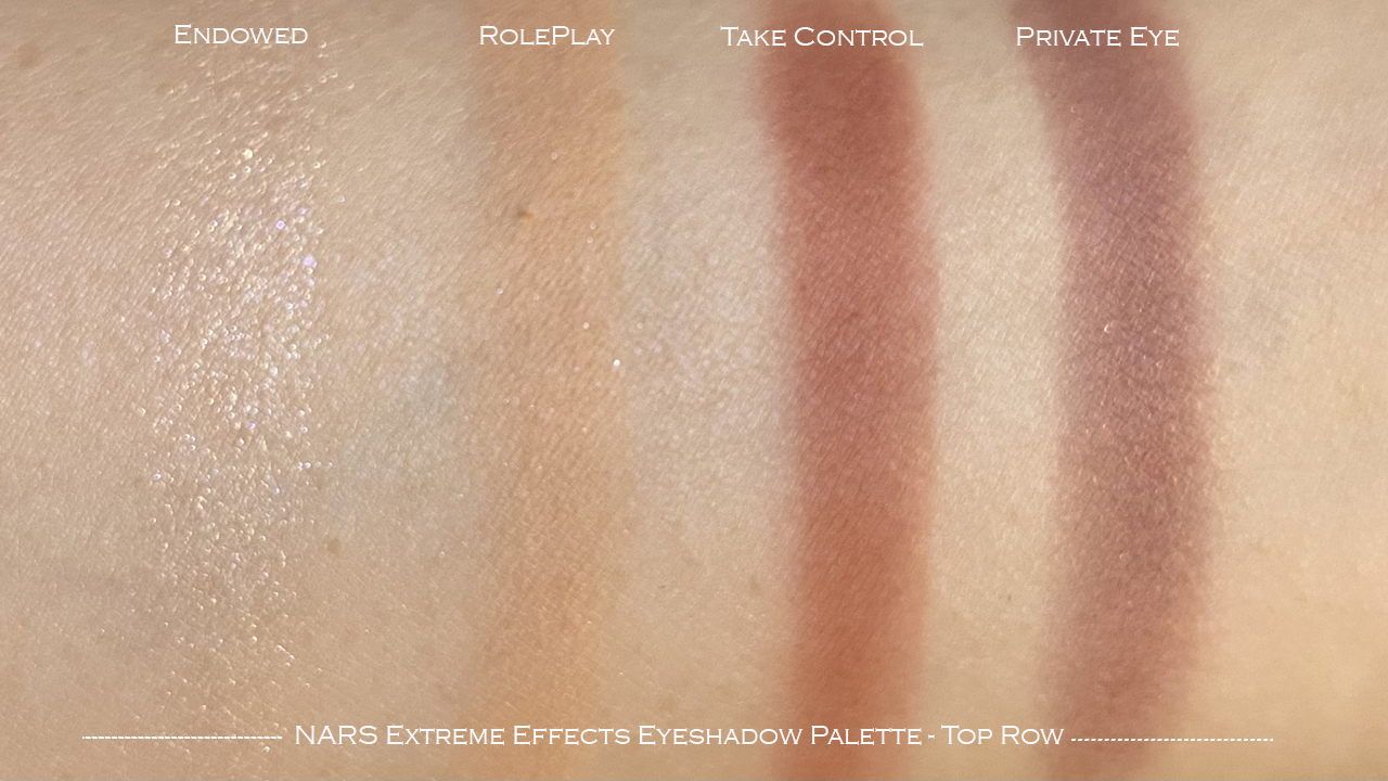 NARS Extreme Effects Eyeshadow Palette top row swatches