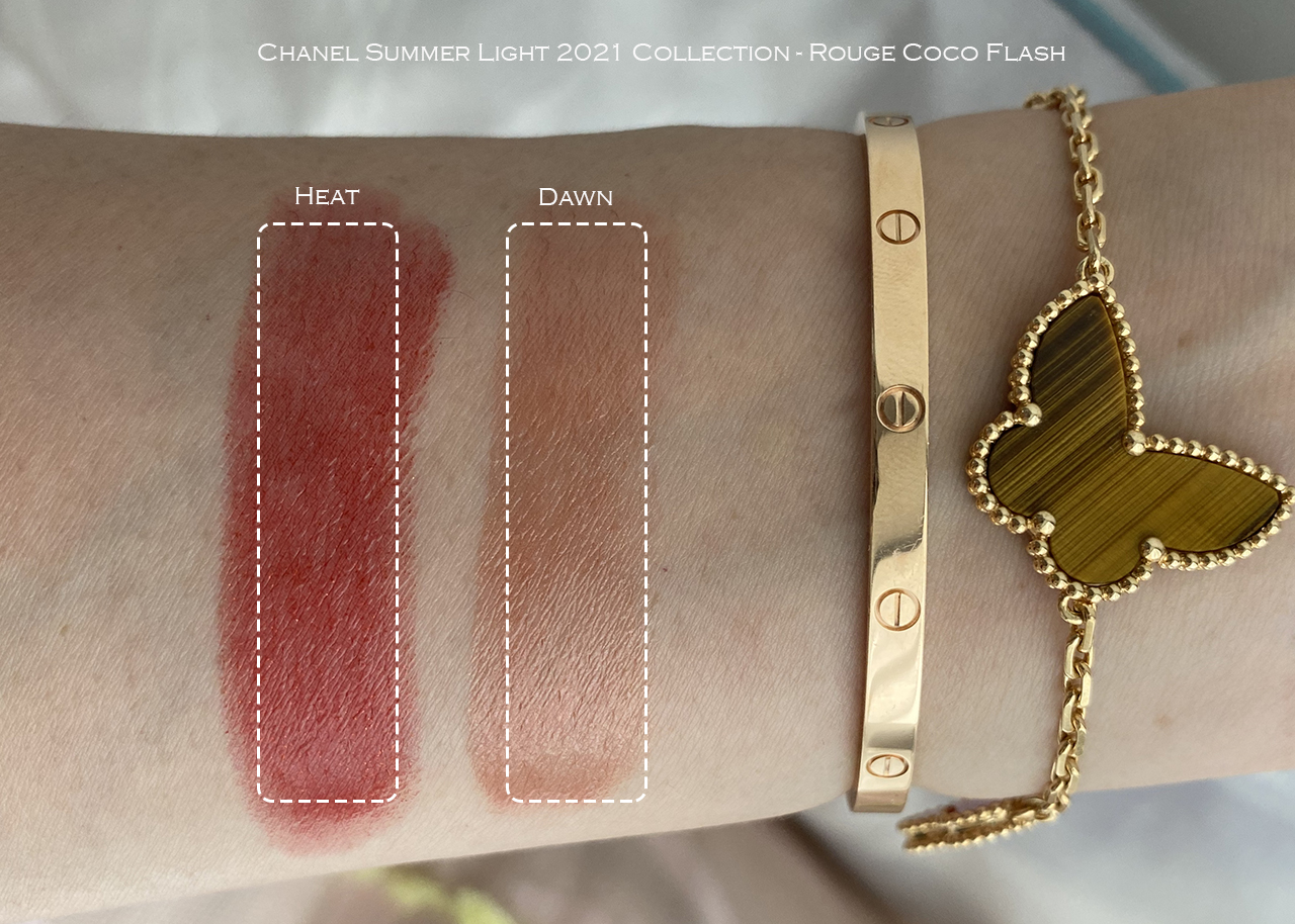 Chanel Rouge Coco Flash Heat & Dawn swatches
